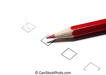 Red pencil and checkboxes isolated on white background