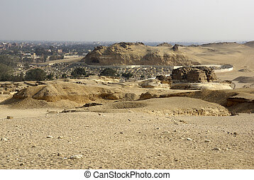 View of Cairo. Desert near pyramids and Sphinx.