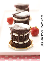 Gateau chocolate and strawberry