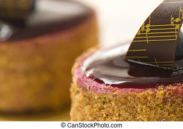 Cassis and framboise cake