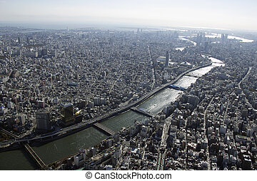 Aerial view of Sumida River