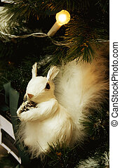White squirrel in fur-tree branches