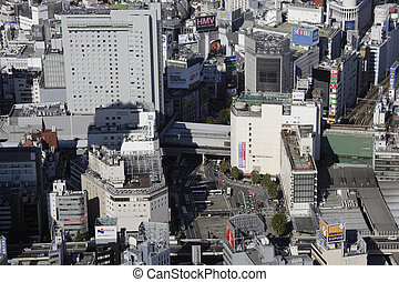 Aerial view of Shibuya station areas
