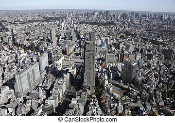 Aerial view of Shibuya areas