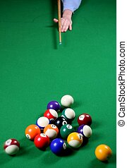 Pool Game Break - Pool balls being broken by a player whose...