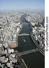 Aerial view of Sumida-ku areas