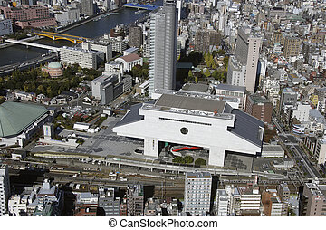 Aerial view of Ryogoku Kokugikan areas
