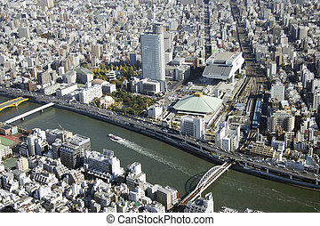 Aerial view of Sumida River areas