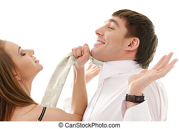 conflict - bright picture of conflicting couple over white