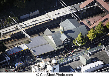 Aerial view of the Harajuku station areas