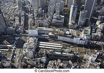 Aerial view of Shinjuku station areas