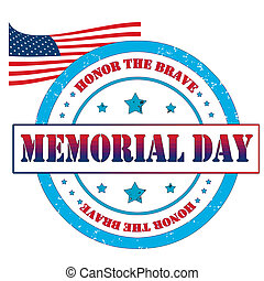 Memorial day stamp - Grunge rubber stamp, label memorial...