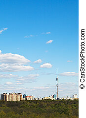 cityscape with TV tower and urban park in Moscow - spring...