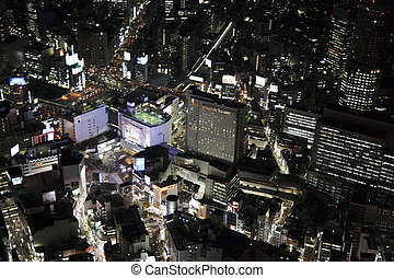 Aerial view of the Shibuya station areas