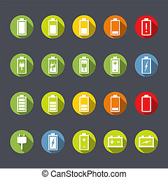 Battery Icons Flat Design - Set of battery and accumulator...