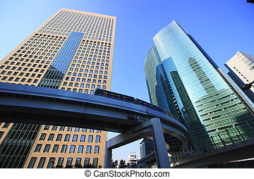 Monorail and Skyscrapers in Shiodome