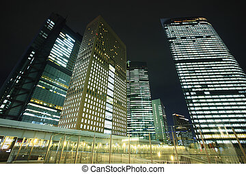 Night View of Skyscrapers in Shiodome