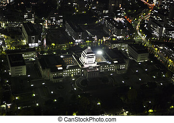 Aerial view of the National Diet Building areas