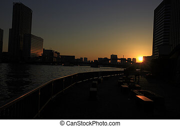 Sunset in Sumida River and Sumida River Terrace