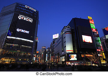 Night View Around Scramble Crossing in front of Shibuya...
