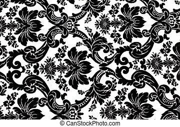 pattern - Monochrome seamless damask pattern Nice to use as...