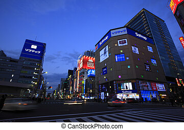 Evening View of Buildings in Akihabara