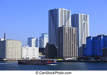 Sumida River and Scyscrapers in Kachidoki