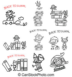 back to school - hand drawing cartoon back to school