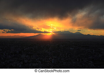 Sunset view of Mt Fuji from Skyscraper
