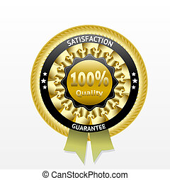 Satisfaction guarantee golden vector label with ribbon eps...