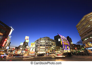 Night View of Meiji Street and Omotesando Jingu-mae Crossing