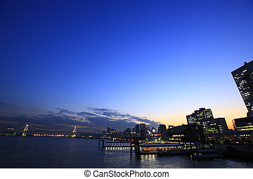 Night View of Tokyo port, Waterbus Stations, and Rainbow...