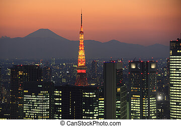 Evening View of the Skyscrapers in Shiodome, Tokyo Tower,...
