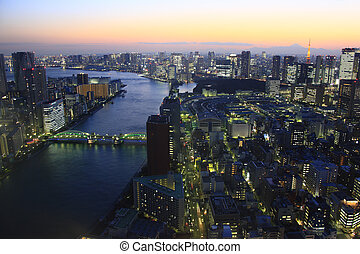 Night View of Sumida River, Tsukiji market, and Tokyo Tower