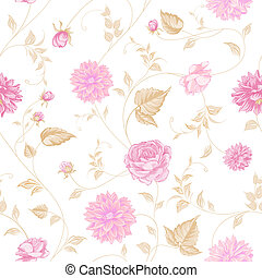 Seamless texture of pink roses for textiles.  illustration.