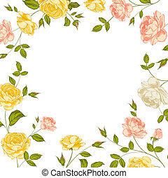 Floral frame perfect for wedding invitations.  illustration.