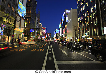 Evening View of Ginza 4-chome
