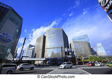 Cityscape of Ginza 4-chome Sukiyabashi scramble crossing...