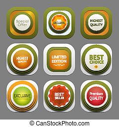 Set of modern design labels. eps 10
