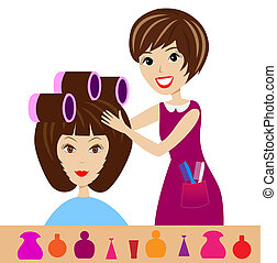 woman in a beauty salon does a hair-do, vector illustration...