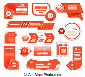Set of red vector progress, version, step icons eps 10