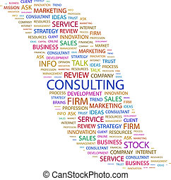 CONSULTING. Background concept wordcloud illustration. Print...