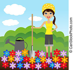 young woman plant flower in soil