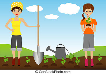 two young woman plant nursery transplant in soil, vector...