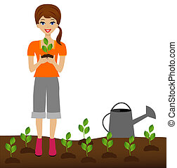 woman plants a nursery transplant - a young woman plants a...