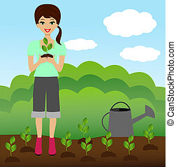 a young woman plants a nursery transplant in soil, vector...