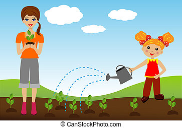 mother with daughter plant nursery transplant in soil,...