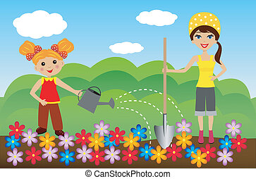 mother with daughter plant flowers in soil, vector...