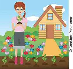 young woman plant flower in soil, vector illustration