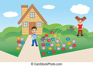 child pour flowers on summer residence, vector illustration